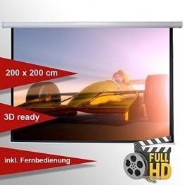 Leinwandking Motorleinwand 200 x 200cm,Leinwand Format 1:1, Heimkino Leinwand, Beamerleinwand, 3D Leinwand, elektrische Leinwand, Full HD Leinwand -