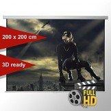 Leinwandking Rolloleinwand 200 x 200cm,Leinwand Format 1:1 , Heimkino Leinwand, Beamerleinwand,3D Leinwand,Full HD Leinwand, Leinwand Beamer -