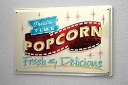 Blechschild Kino Deko Popcorn Kino Metallschild 20X30 cm -