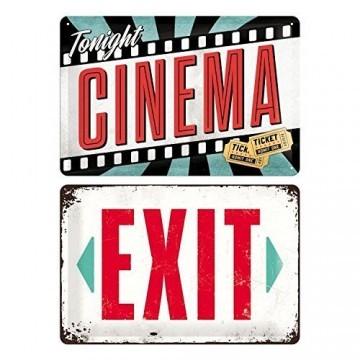 Blechschilder Retro Nostalgie Kino 2er Set Cinema / Exit Schild American Diner -