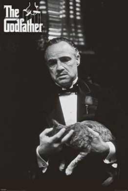 Godfather, The - Marlon Brando, Cat - Filmposter Kino Movie schwarz-weiss Foto Der Pate - 61x91,5 cm + 1 Ü-Poster der Grösse 61x91,5cm -
