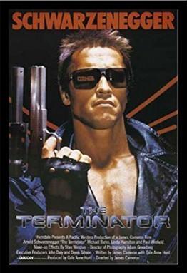 Terminator, The - Teil 1 One Sheet - Filmposter Kino Movie Arnold Schwarzenegger - Grösse 61x91,5 cm + Wechselrahmen der Marke Shinsuke® Maxi aus schwerem MDF Holzfaserwerkstoff, Holzoptik schwarz Nachbildung - mit Acrylglas-Scheibe. -