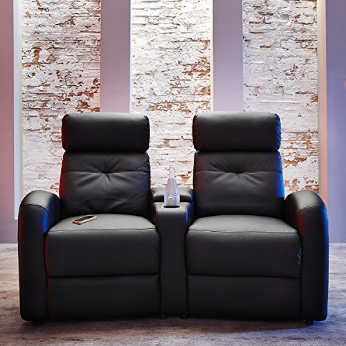 2er kino sessel in schwarz mit becherhalter beamerleinwand24. Black Bedroom Furniture Sets. Home Design Ideas