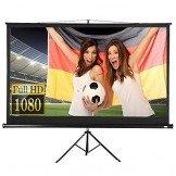 Beamer Leinwand Heimkino mit Stativ 221x125cm (254cm Bilddiagonale / 100Zoll) HDTV/3D tauglich -