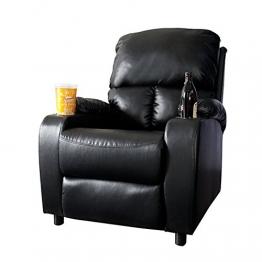 Eleganter Kinosessel HALL OF FAME schwarz mit Cupholder Sessel Polstersessel Wohnzimmer verstellbar mit Becherhalter -