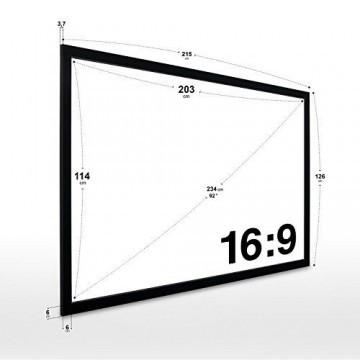 eSmart Germany Akustik Rahmen-Leinwand MIRALE | Gesamtbreite 215 cm | Darstellungsfläche 203 x 114 cm (92