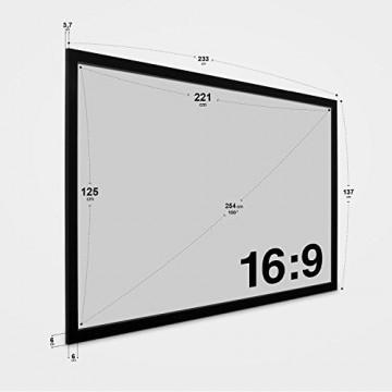 eSmart Germany MIRALE RAHMEN LEINWAND HIGH CONTRAST GRAU | Gesamtbreite 233cm | Darstellungsfläche 221cm x 125cm | Bildformat 16:9 | mit Vollmaskierung |Modell 2016 -