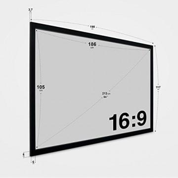 eSmart Germany MIRALE Rahmen Leinwand HIGH CONTRAST GRAU | Gesamtbreite 198 cm | Darstellungsfläche 186 x 105 cm (84