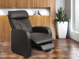 Relaxsessel Fernsehsessel TV Sessel verstellbar Liegefunktion Kunstleder Schwarz - H-5610C/1413 -