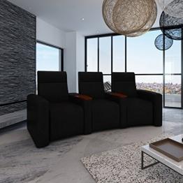 vidaXL Luxus Ledermix Sofa Sessel 3 Sitzer mit Holzstaufach schwarz -