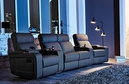 4er Kinosessel, Cinema - Relax Sofa, Heimkino Sessel, TV Sofa, Relaxcouch, Home Cinema, Kunstleder schwarz, verstellbar, Liegefunktion -