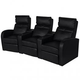 vidaXL Kunstleder Heimkino Sessel Relaxsessel Sofa 3-Sitzer schwarz -