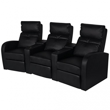 3er kino sessel aus kunstleder in schwarz beamerleinwand24. Black Bedroom Furniture Sets. Home Design Ideas