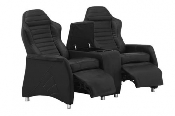 2er kinosessel relaxcouch aus kunstleder in schwarz mit. Black Bedroom Furniture Sets. Home Design Ideas