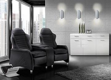 2 Sitzer Kinosessel, Cinema - Relax Sofa, Heimkino Sessel, TV Sofa, Relaxcouch, Home Cinema, Kunstleder schwarz, verstellbar, Liegefunktion -