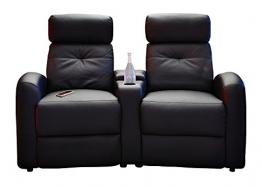 Fernsehsessel-Set Cinema-Sessel Doppelsessel Hollywood | Schwarz | Kunstleder | Mit Liegefunktion | Getränkehalter -