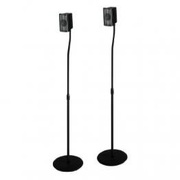 Hama Lautsprecherständer (höhenverstellbar bis 123 cm, je 5 kg belastbar, versteckte Kabelführung) 2er-Set, schwarz -
