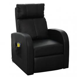 vidaXL Massagesessel Fernsehsessel Relaxsessel Massage TV Sessel mit Heizung schwarz -