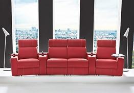 Kinosessel Kinosofa mit 4 Plätzen Cinema Heimkino Sessel Hollywood mit Relaxfunktion Staufächern und Getränkehalter - 1