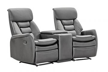 lifestyle4living Kinosessel 2-Sitzer, Kunstleder, grau | Hochwertiger 2er Cinema-Sessel/Sofa mit Getränkehalter & Liegefunktion für entspannte Heimkino-Abende - 2