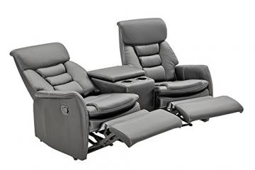 lifestyle4living Kinosessel 2-Sitzer, Kunstleder, grau | Hochwertiger 2er Cinema-Sessel/Sofa mit Getränkehalter & Liegefunktion für entspannte Heimkino-Abende - 3