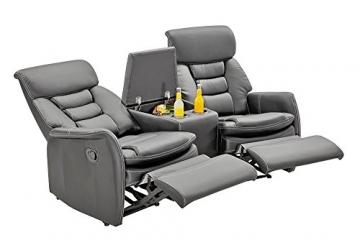 lifestyle4living Kinosessel 2-Sitzer, Kunstleder, grau | Hochwertiger 2er Cinema-Sessel/Sofa mit Getränkehalter & Liegefunktion für entspannte Heimkino-Abende - 4