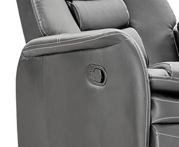 lifestyle4living Kinosessel 2-Sitzer, Kunstleder, grau | Hochwertiger 2er Cinema-Sessel/Sofa mit Getränkehalter & Liegefunktion für entspannte Heimkino-Abende - 5
