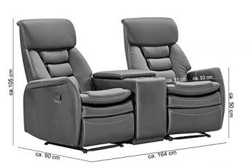 lifestyle4living Kinosessel 2-Sitzer, Kunstleder, grau | Hochwertiger 2er Cinema-Sessel/Sofa mit Getränkehalter & Liegefunktion für entspannte Heimkino-Abende - 6