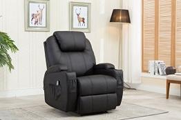MCombo Massagesessel Fernsehsessel Relaxsessel mit Vibration+Heizung Schwarz - 1