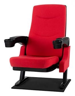 Stagecaptain CS-600R Movieking Kinosessel (Relaxsessel, klappbarer Sitz, 2 x Armlehne mit Getränkehalter, Bodenplatte) rot - 1